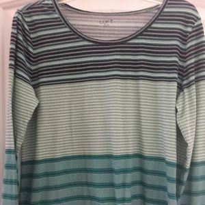 Loft ladies long sleeve large green striped shirt.